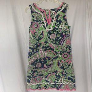 Lilly Pulitzer pink navy green paisley dress 6 vtg